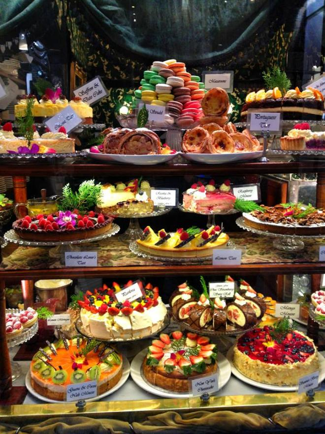 A display of high tea delights in one of Melbourne's laneways. August, 2013.