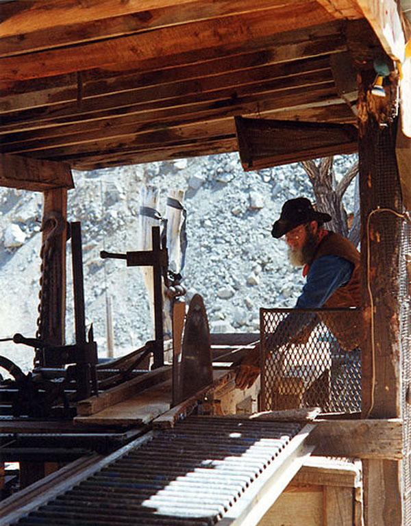 Jerome, Arizona: A sawmill. Many of the buildings in the ghost town of Jerome have are maintained in working order, with people demonstrating traditional techniques and crafts.