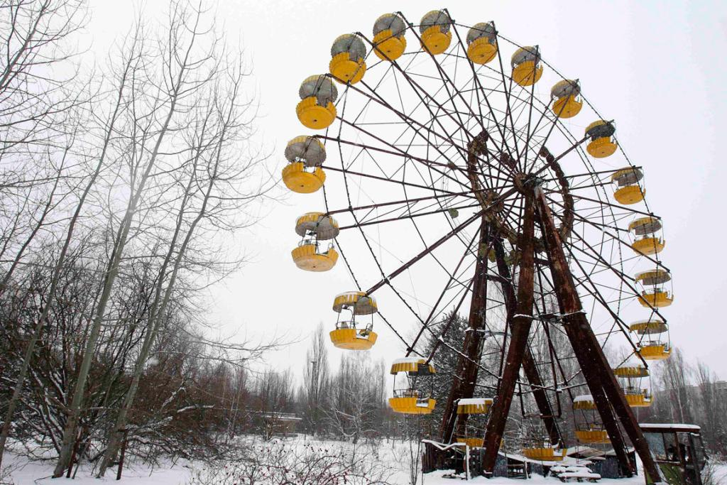 Prypiat, Ukraine: Rusting amusement rides are seen in the abandoned city of Prypiat, near the Chernobyl nuclear power plant in Ukraine.