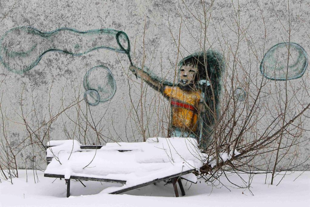 Prypiat, Ukraine: Graffiti is seen on a wall in the abandoned city of Prypiat.