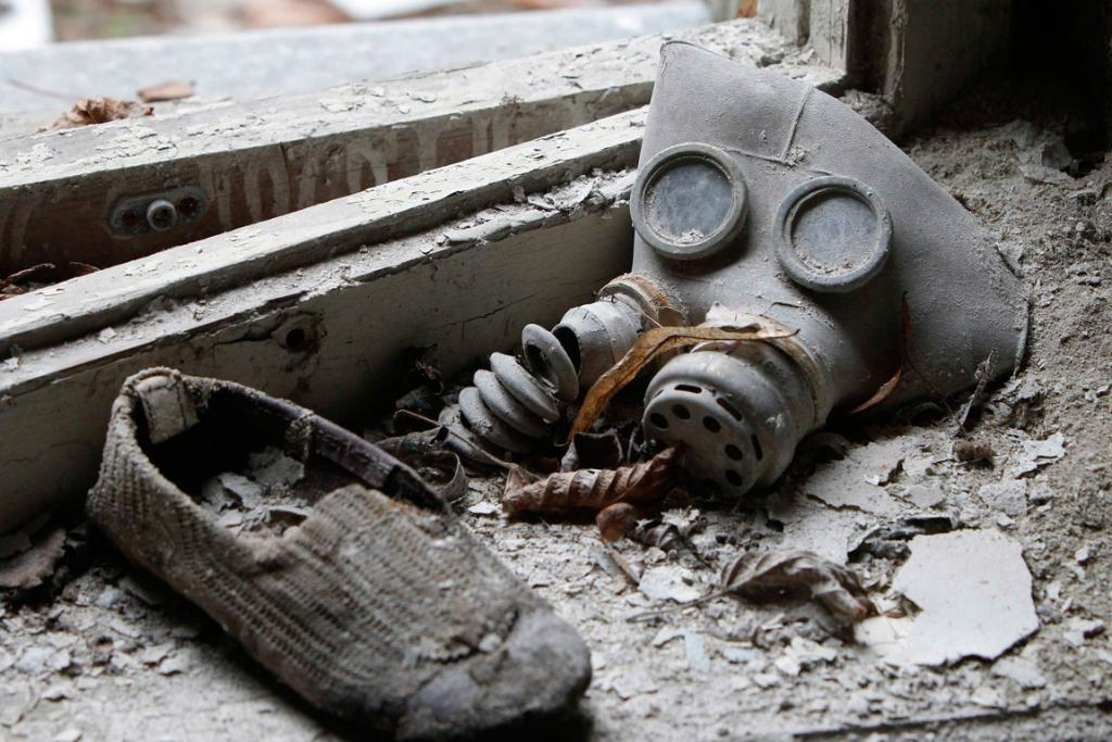Prypiat, Ukraine: A child's gas mask and a shoe are seen at a kindergarten in the abandoned city of Prypiat.