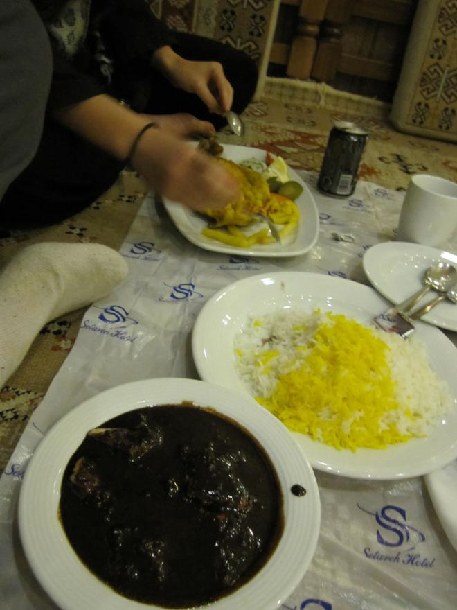 Typical Iranian meals of pomegranate chicken, saffron rice and fresh trout. It was cheap too with these dishes, plus sides and drinks for about $7.