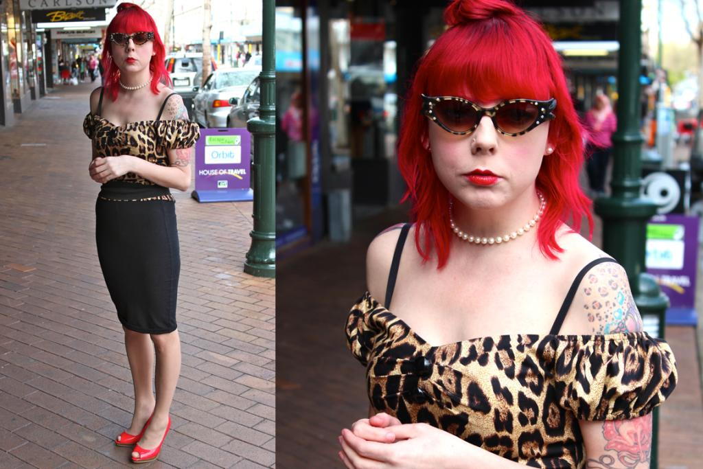 Kylie, photographed on George St, Dunedin wears a Collectif Rockabilly top and a skirt she made herself.