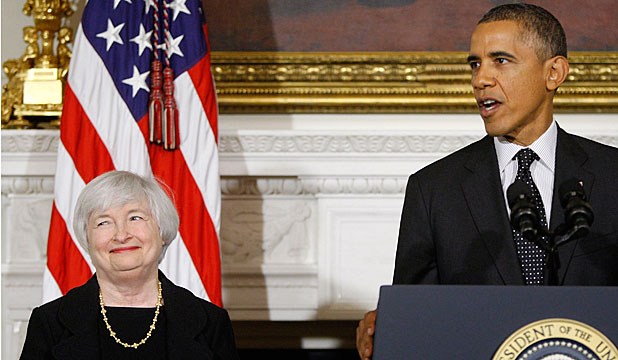 PRESIDENTIAL PRAISE: A beaming Janet Yellen during a White House ceremony to announce her nomination as Fed chair.