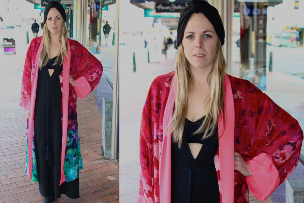 Ceri, photographed on George St, Dunedin wears a Kimono by Coop, Mickey Loves Mallory maxi dress and turban from Glassons.