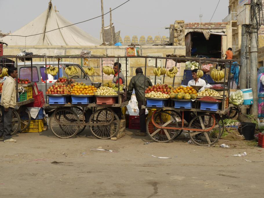 Incredible or inedible India? A fruit stall in hot Jaipur.