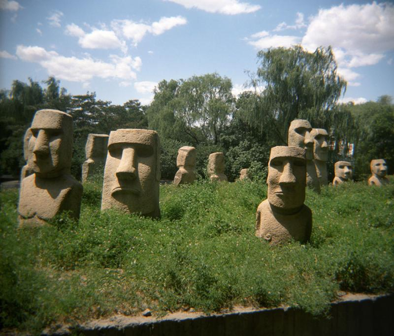 The statues of Easter Island look more like lawn ornaments at Beijing's World Park.