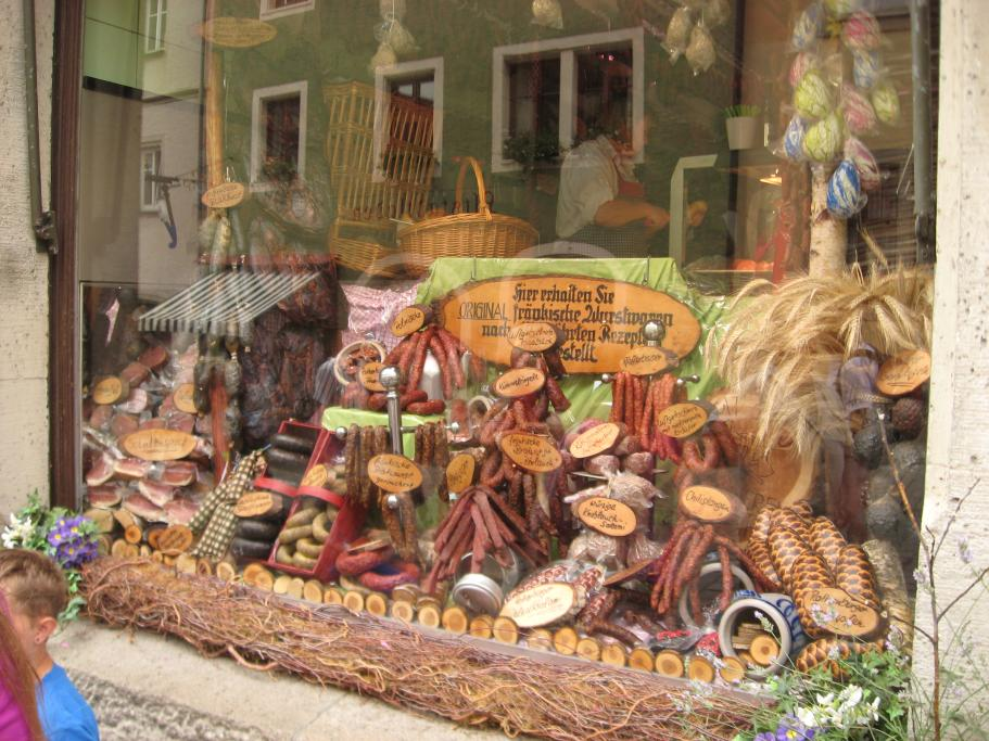 Taken in beautiful Rothenburg. Amazing how many different sausages and salamis there were - I could not make a choice!
