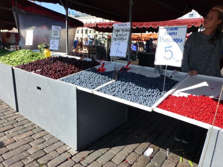 Walking through Helsinki towards the port, we came across the luscious fruit for sale. The late summer harvest was difficult to resist