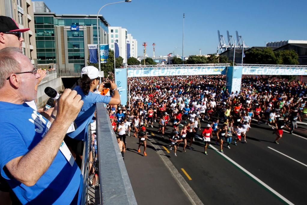 Len Brown starts the 2013 Round the Bays fun run contested by tens of thousands of people.