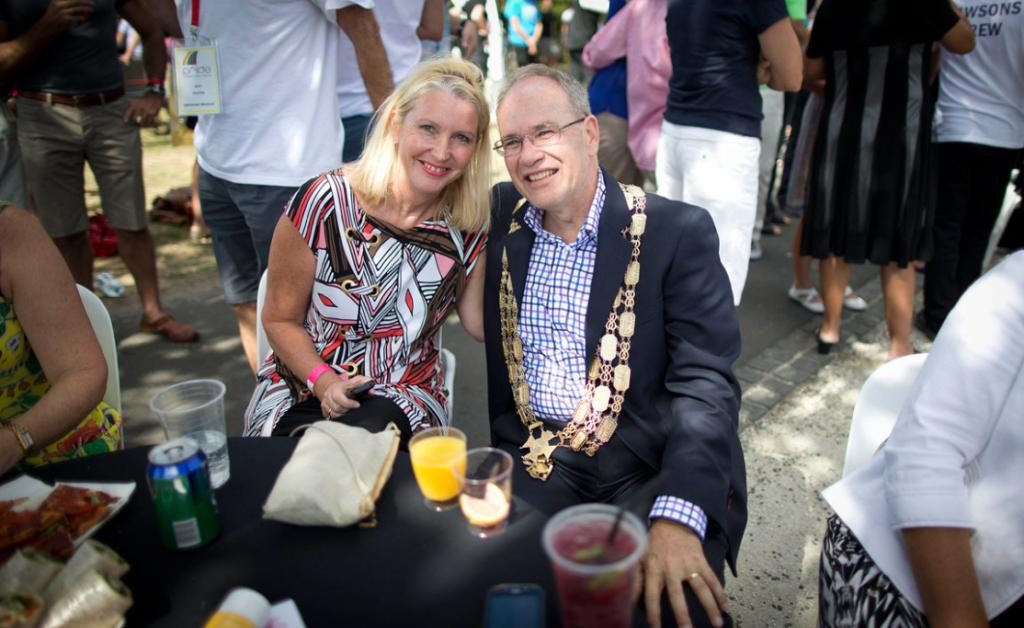 Len Brown pictured with his wife Shan Inglis at Auckland's Gay Pride parade.