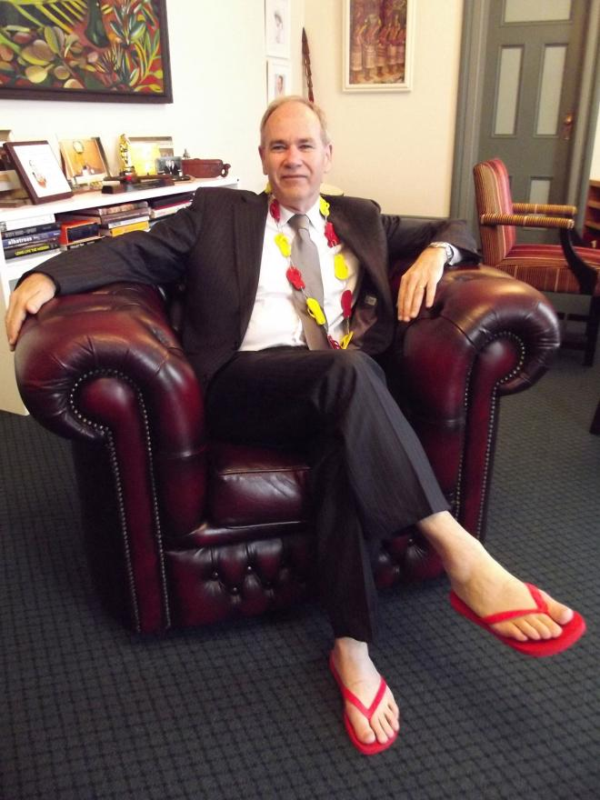 Len Brown shows his support for Surf Life Saving New Zealand by wearing jandals during the organisation's appeal week.