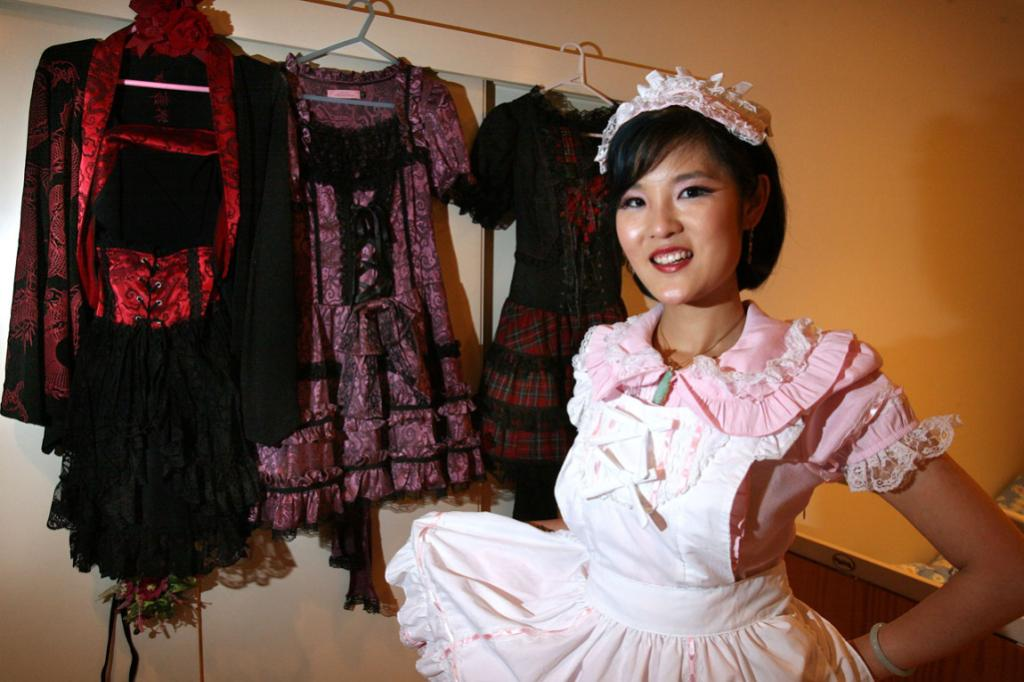 Bevan Chuang wearing an outfit used in a Japanese fashion show she organised.