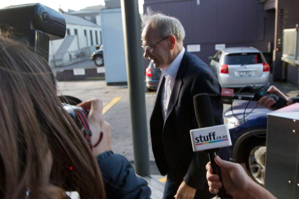 ON AIR: Len Brown arrives at TV3 to appear on screen hours after the news of his affair broke.