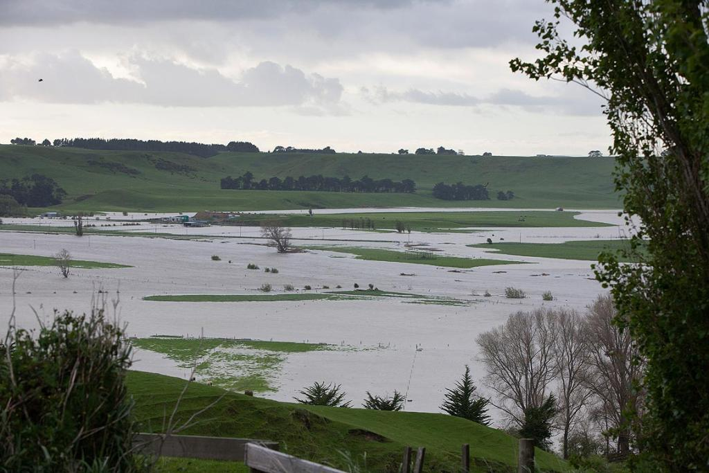 Flooding across paddocks in the Whanganui district.