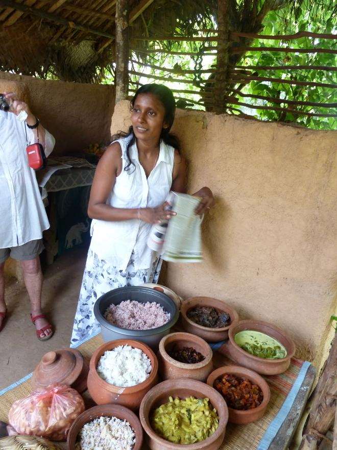 In Southern Sri Lanka, they make a special tuna dish made with 22 different spices, which keeps for over a week without refrigeration. We stopped off in the garden of this woman's home, where they showed us how the dish is prepared and then served us a sumptuous lunch. All the more poignant as it was close to the area devastated by the 2004 tsunami.