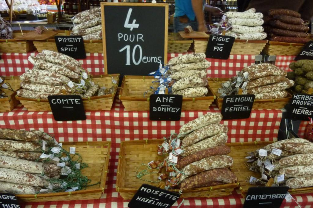 This was on a market stall in Aix-en-Provence in the south of France. I took the photo last month and was horrified by the donkey product, but I guess they also eat horse meat in France. And, no, I didn't sample the it.