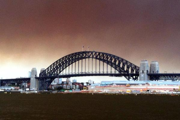 A haze from bushfires hangs over Sydney.