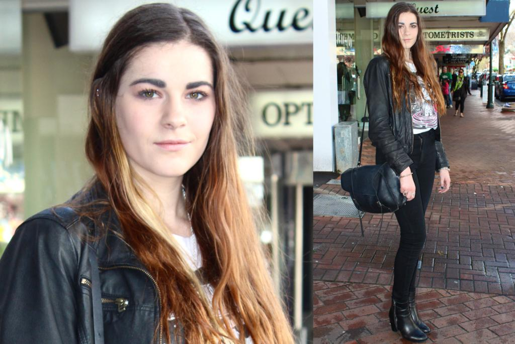 Rebecca, photographed on George St, Dunedin, wears a jacket from a friend, a Lonely Hearts T-shirt, Neuw jeans and a Company of Strangers bag.
