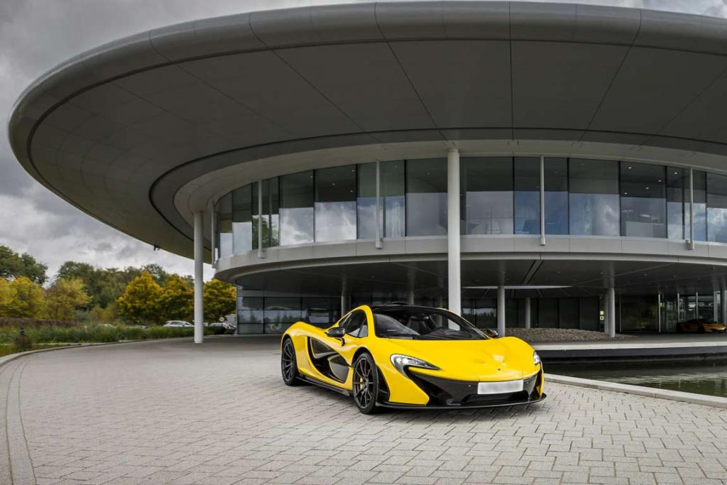 A finished McLaren P1 outside the company's headquarters in Woking, England.