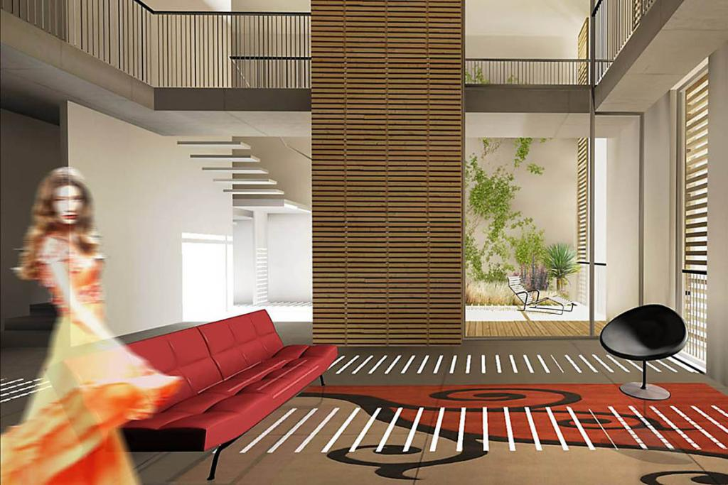 An artist's impression of the interior of one of the units in the new urban village to be constructed by Latimer Square in Christchurch.