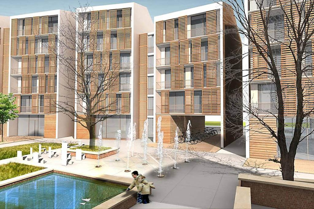 An artist's impression of the new urban village to be constructed by Latimer Square in Christchurch.