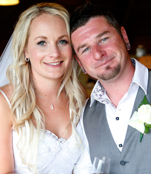 HAPPY COUPLE: Louise Hutterd and Conor O'Riordan after their wedding ceremony in Kaiteriteri.