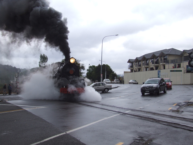 The restored Ja1240 steam engine coming through Picton this morning