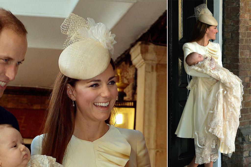 The Duchess of Cambridge wore a Jane Taylor pill box hat to her son's christening (while baby George wore a replica of the antique dress his dad and Uncle Harry wore at their own christenings).