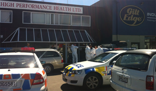INVESTIGATION: Police at the scene of a central Christchurch business believed to be connected to a major drugs syndicate.