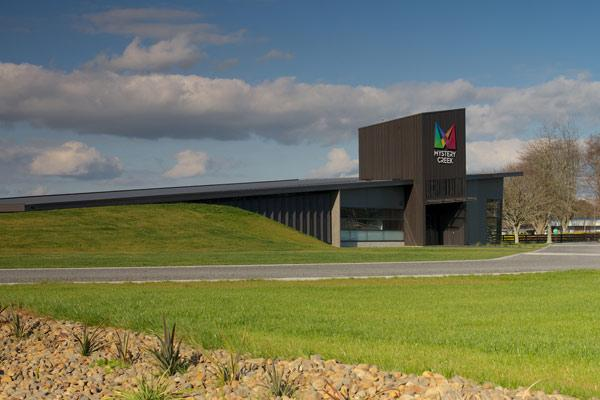 Vibrant interior: The colour and strong roof-line of Mystery Creek Event Centre HQ impressed the jury.