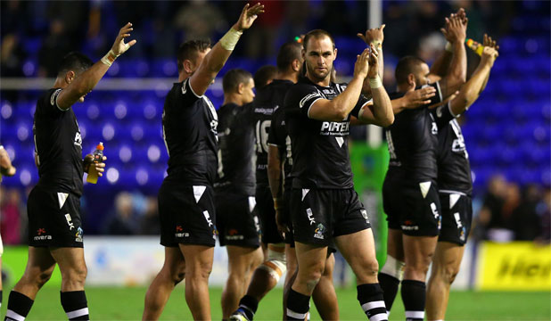 MIXED PERFORMANCE: The Kiwis acknowledge the crowd after their win over Samoa.