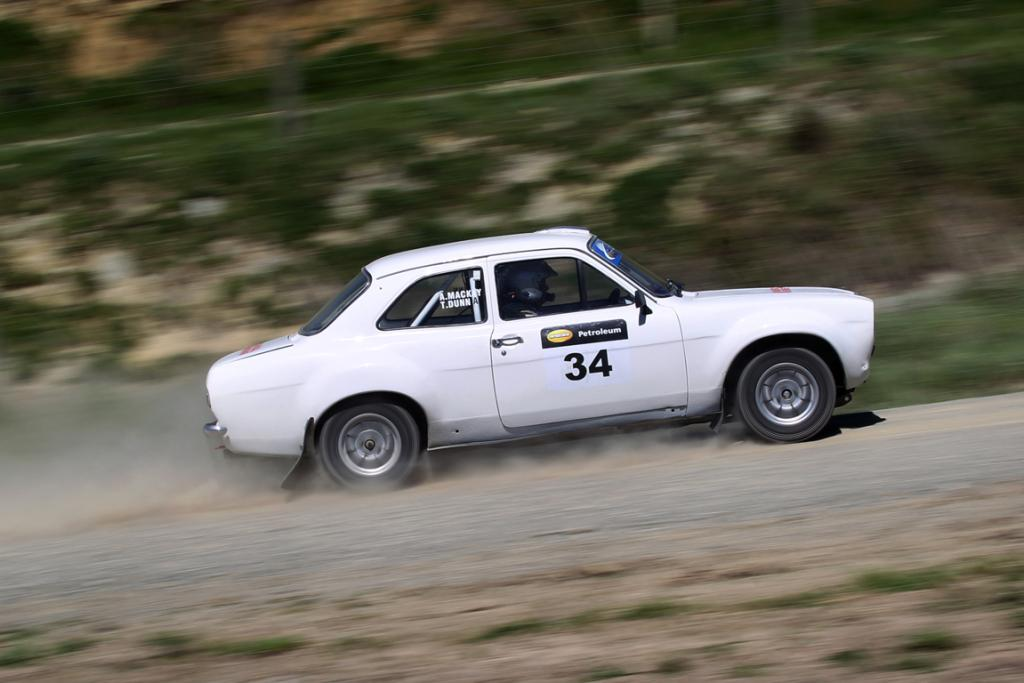 Ally Mackay from Christchurch racing in his Ford Escort RS2000 in the hillclimb at the Waimate 50.