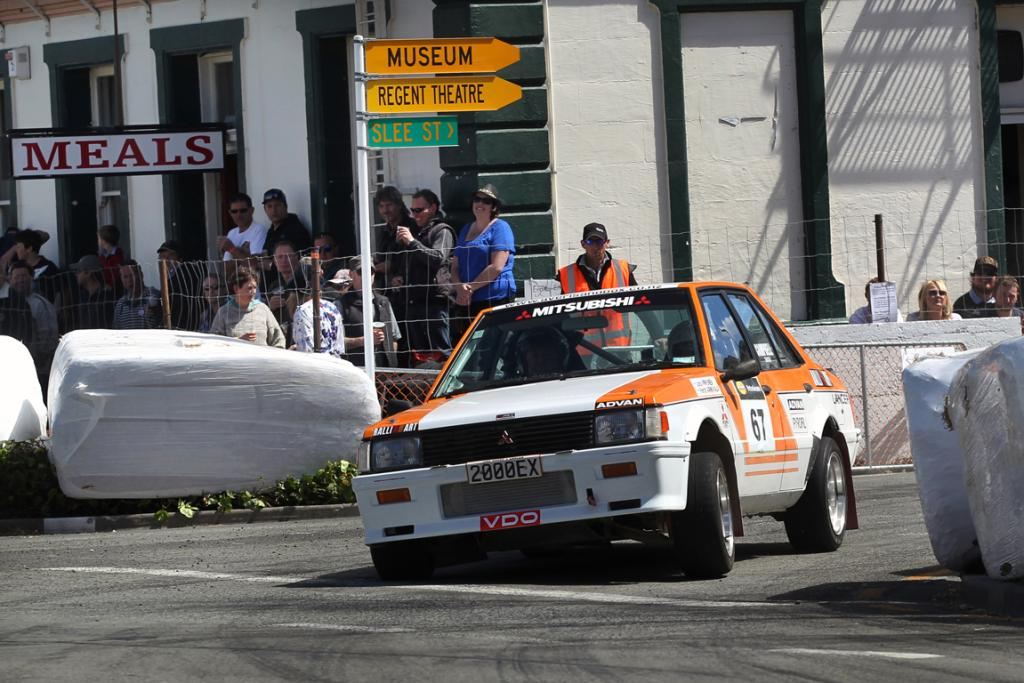 John Campbell from Timaru in his Mitsubushi Lancer EX Turbo competing in the Waimate 50 race on Sunday.