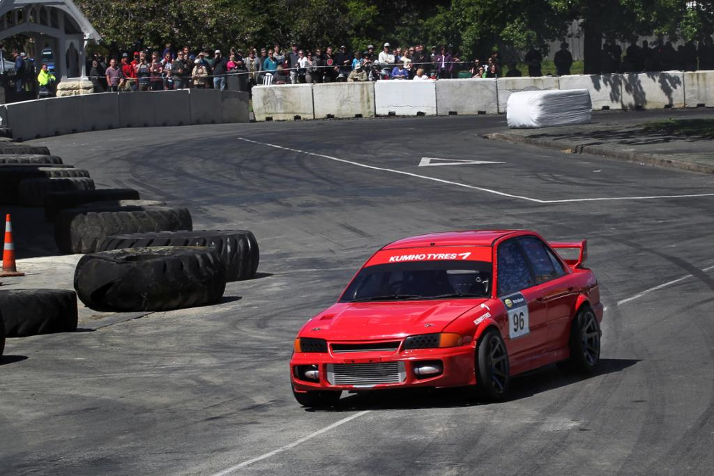Street sprint winner Glen Frew from North Taieri in his Mitsubishi Lancer Evo at the Waimate 50.