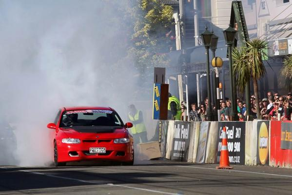 Waimate's Keegan Lane smokes the tyres on his Holden R8 Clubsport prior to a run in the Main Street Thunder Sprint at the Waimate 50.