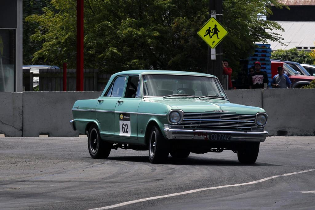 Herb Lane from Rangiora in his Chevrolet Nova racing in the Street Sprint at the Waimate 50.
