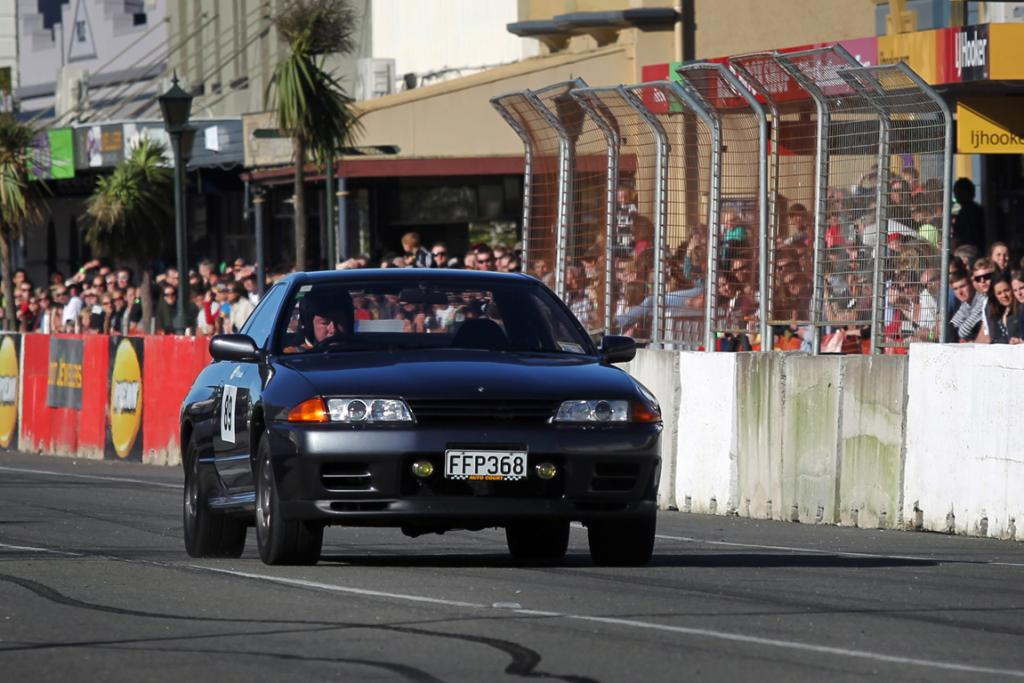 Anthony Millar from Dunedin in his Nissan Skyline GTR in Main Street Thunder Sprint at the Waimate 50.