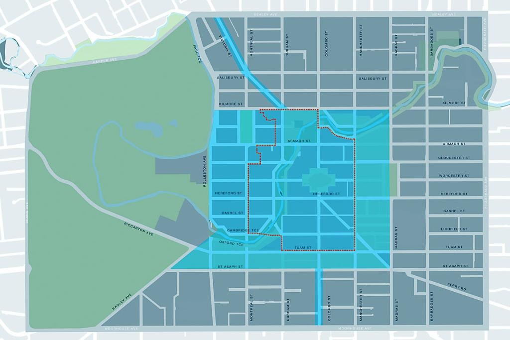 New christchurch transport plan praised stuff slow down a map showing central christchurchs speed zones the blue box shows the malvernweather Image collections