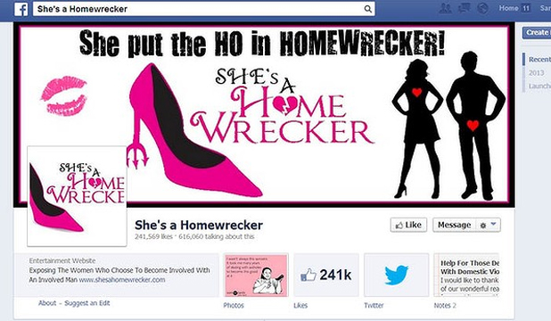 CHEATERS BEWARE: Screengrab from the 'She's a homewrecker' Facebook page.