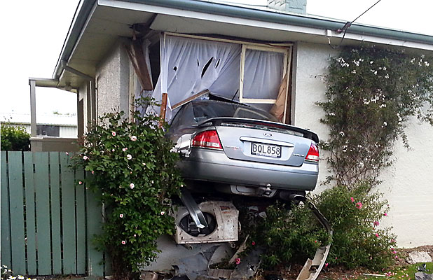 OFFROAD CRASH: A Speeding Car Ploughed Into This Gore Home On Friday Night.