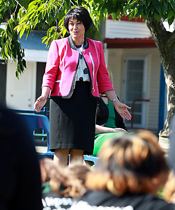IMPORTANT LESSON: Hekia Parata visits Phillipstown School during the consultation process last year.