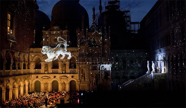 "MUSIC IN ITALY: La Fenice Theatre's production of ""Othello"" inside the courtyard on the Doge Palace in Venice, Italy."