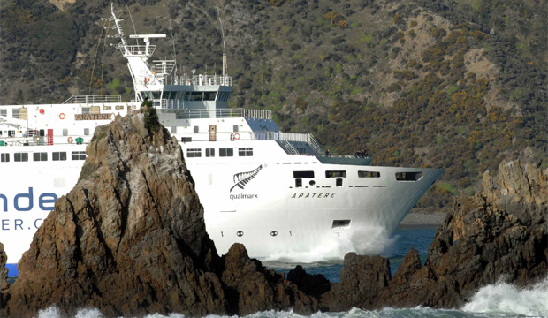 TOUGH SAILING: Interislander's Aratere ferry, which snapped a shaft and lost a propeller just outside the Tory Channel.
