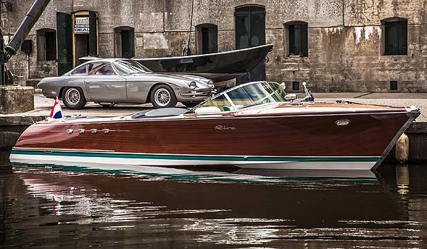 WORLDS FASTEST RIVA AQUARAMA Parked Behind It Is An Example Of The 350GT Lamborghinis