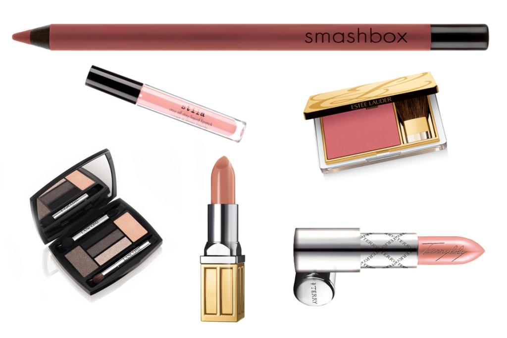 FAIR: Smashbox Nude Lip Liner in Fair, $37; Estee Lauder Pure Color Blush Pink Kiss, $76; ByTerry Lipstick in Terrybly Nude, $89; Beautiful Color Moisturizing Lipstick in Pale  Petal, $48; Lancome Hypnose Palette in Star Eyes Gris Fume, $88; Stila Stay All Day Liquid Lipstick in Bellissima, $47.