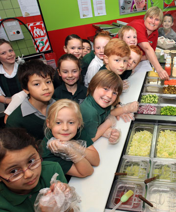 St Theresa's School pupils line up at Pita Pit Invercargill
