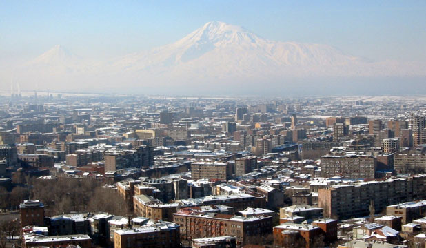 STUNNING SCENERY: An overview over Yerewan in Armenia,  with Mount Ararat in background.