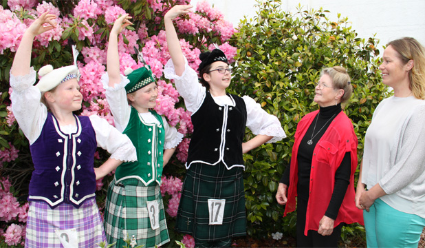 Helen McKay and highland dancers