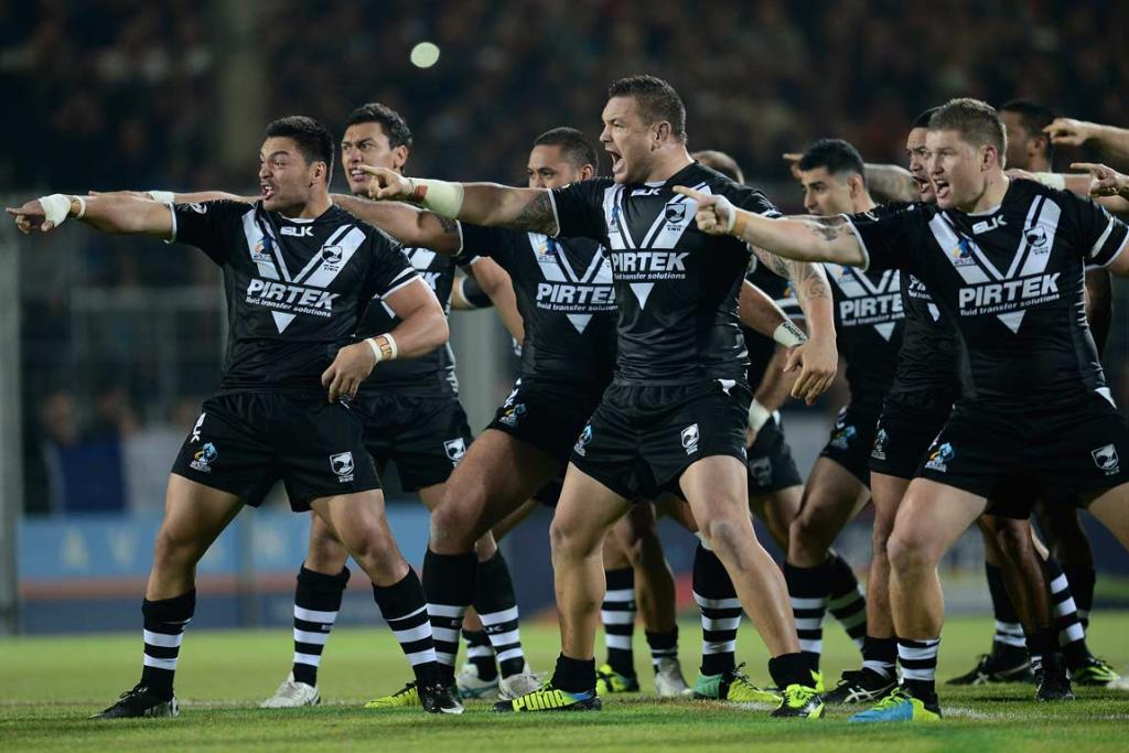New Zealand players perform the haka before taking on France.